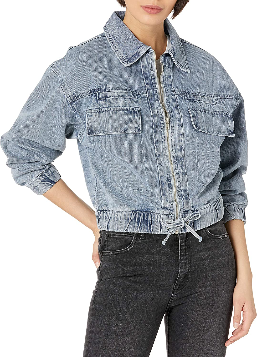 KENDALL + KYLIE Women's Zip Up Double Pocket Cropped Jacket