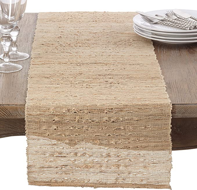 Fennco Styles Woven Nubby Natural Ramie Rustic 14 X 90 Inch Table Runner Natural Nubby Table Runner For Home Everyday Use Kitchen Banquets And Special Occasion Décor Home Kitchen