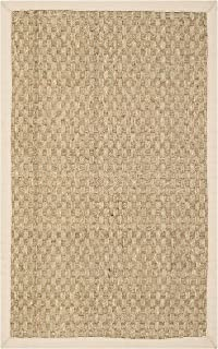 Safavieh Natural Fiber Collection NF114A Basketweave Natural and Beige Summer Seagrass..