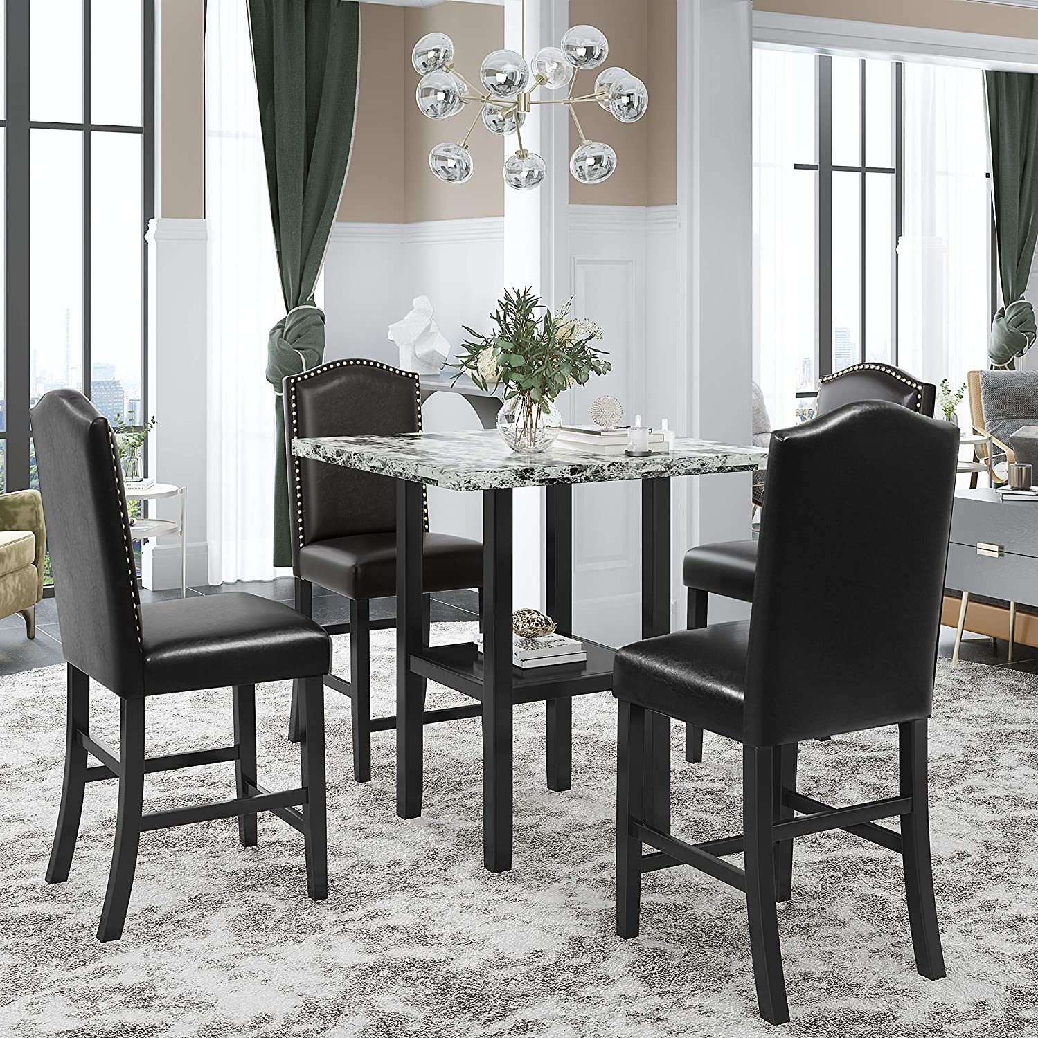 Harper Max 71% OFF Bright Designs 5-Piece Dining Set with Marbl Very popular Faux Table