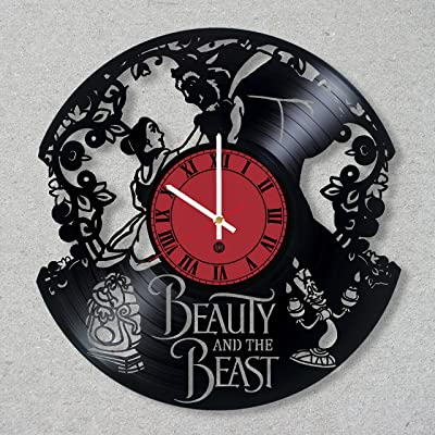 Vinyl Record Wall Clock Beauty and the Beast Movie Cartoon Belle Magic decor unique gift ideas