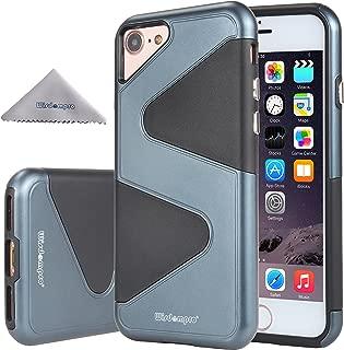 iPhone 8 ケース iPhone 7 ケース Wisdompro 二重構造 軽量 耐衝撃 ソフトTPU+ハードPC アイフォン 7/8 保護カバー ブラック+ネイビーブルー