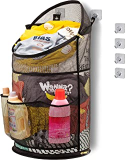 TENRAI Smart Hanging Pop Up Laundry Hamper,with YKK Zipper Extra Large Opening Dirty Clothes Basket Foldable Mesh Hamper Dirty with Side Pocket(Holds 4 Loads)