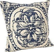 وسادة أريكة قطنية محشوة بتصميم الزهور من SARO LIFESTYLE Montpellier من مجموعة الأزهار مقاس 50.8 سم، أزرق داكن