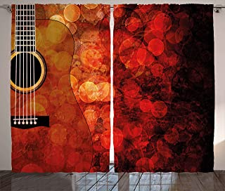 Ambesonne Music Decor Curtains, Acoustic Guitar Figure on Bright Grunge Backdrop Performance Melody Theme, Living Room Bedroom Window Drapes 2 Panel Set, 108W X 84L Inches, Ruby Scarlet