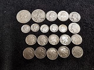 1913-1964 U.S. Silver Type Coin Set -Walking Liberty 1/2, Franklin 1/2, Washington 1/4s, Mercury dimes, Roosevelt dimes & Buffalo Nickels 21 Coins All VG to XF