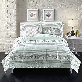 Loft Style Boho Elephant Ultra Soft Microfiber Comforter Set, Twin, Light Blue
