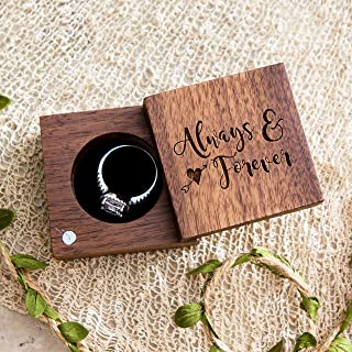 Always & Forever Ring Box (Rotating Square Engagement Ring Box, Ring Box for Proposals, Walnut wood Wedding Ceremony Ring Bearer Box - Ring Dish Storage)