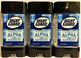 Right Guard Antiperspirant - Best Dressed Collection - Alpha - Clear Gel - Net Wt. 4.0 OZ (113 g) Per Stick - Pack of 3 Sticks