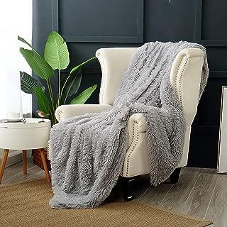 Reafort Luxury Long Hair Shaggy PV Fur Faux Fur Oversized Throw Blanket (Grey, 60
