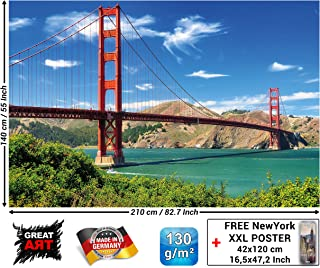 Mural – Golden Gate Bridge – Wall Picture Decoration United States Sights San Francisco California Wallposter Photoposter Wall Mural Wall Decor (82.7 x 55 Inch / 210 x 140 cm)