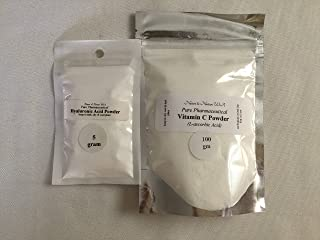 (DPK) HYALURONIC ACID POWDER(5gm) and VITAMIN C POWDER(100gm) PURE. Protects skin from oxidative damages; Improves skin elasticity, Avoid age spots. Soothing & Anti-inflammatory