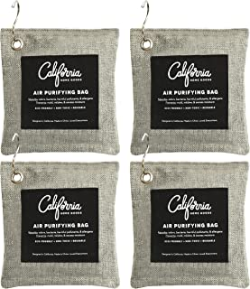 Bamboo Charcoal Air Purifying Bag 4-Pack Bundle, 200g Activated Charcoal Odor Absorber, Air Purifier Bags w/Hooks, Odor Eliminators for Home, Car Scent & Odor Neutralizer, Odor Absorbers for Rooms