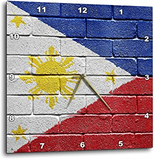 3dRose dpp_156968_2 National Flag of Philippines Painted Onto a Brick Wall Filipino Wall Clock, 13 by 13-Inch