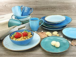 CREATABLE 20157, Nature Collection Aqua, Dinner Ware Set 16 Pieces, Stone, Multicoloured, 34 x 31.5 x 33 cm