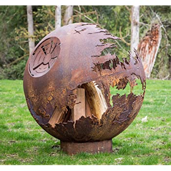 "Cedar Creek Sculptures Death Star Fire Pit – Globe, Wood Burning – Build The Galactic Empires Ultimate Fire – 37"" Round Fire Bowl"