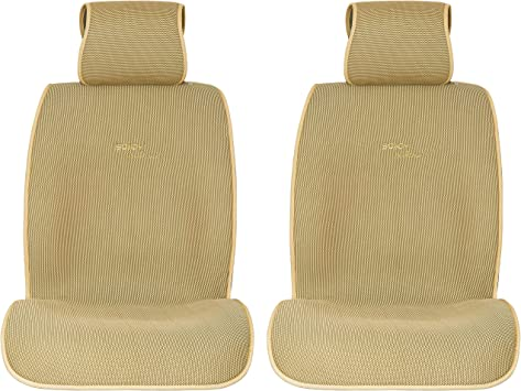 Sojoy Summer Cooling Four Seasons Car Seat Cushions for Front Two Seats Comes with 2 Pieces - Honeycomb Cloth (Tan): image