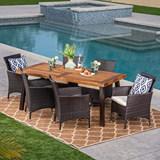Christopher Knight Home Randy | Outdoor 7-Piece Acacia Wood and Wicker Dining Set with Cushions | Teak Finish | in Multibrown/Beige, Rustic Metal