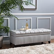 Christopher Knight Home Laguna Tufted Fabric Storage Ottoman, Light Grey