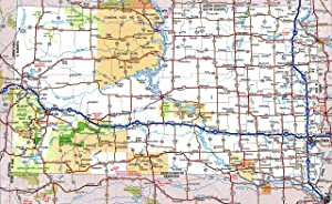 Large Detailed Roads and Highways map of South Dakota State with All Cities and National Parks Vivid Imagery Laminated Poster Print-20 Inch by 30 Inch Laminated Poster