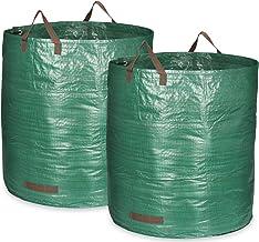 COM-FOUR® 2x Tuintas met draaggrepen - Opvouwbare tuinafvalzak XXL - Scheurvaste opvouwbare afvalbak voor bladeren en groe...