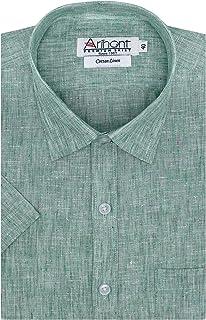Arihant Plain Solid Cotton Linen Half Sleeves Regular Fit Formal Shirt For Men