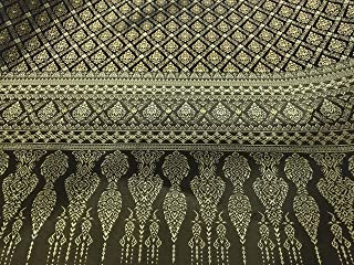 Amornphan 44 Inches Brown and Gold Traditional Thai Silk Damask Fabric for Wedding Dress Skirt by The Yard