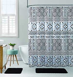 Hudson & Essex All American Collection 15-Piece Oversized Bathroom Set with 2 Memory Foam Bath Mats and Matching Shower Curtain | Designer Patterns and Colors (Madrid Black)