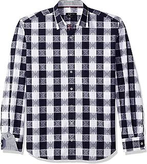 Bugatchi Men's Jacquard Cotton Tapered Fit Point Collar Shirt