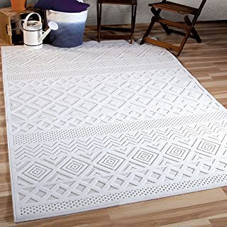 """Orian Rugs Boucle Collection 398946 Indoor/Outdoor High-Low Coastal Diamond Area Rug, 5'2"""" x 7'6"""", Natural Ivory"""