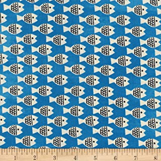 Cotton + Steel Blue Christian Robinson Spectacle Fish Friends Fabric by The Yard