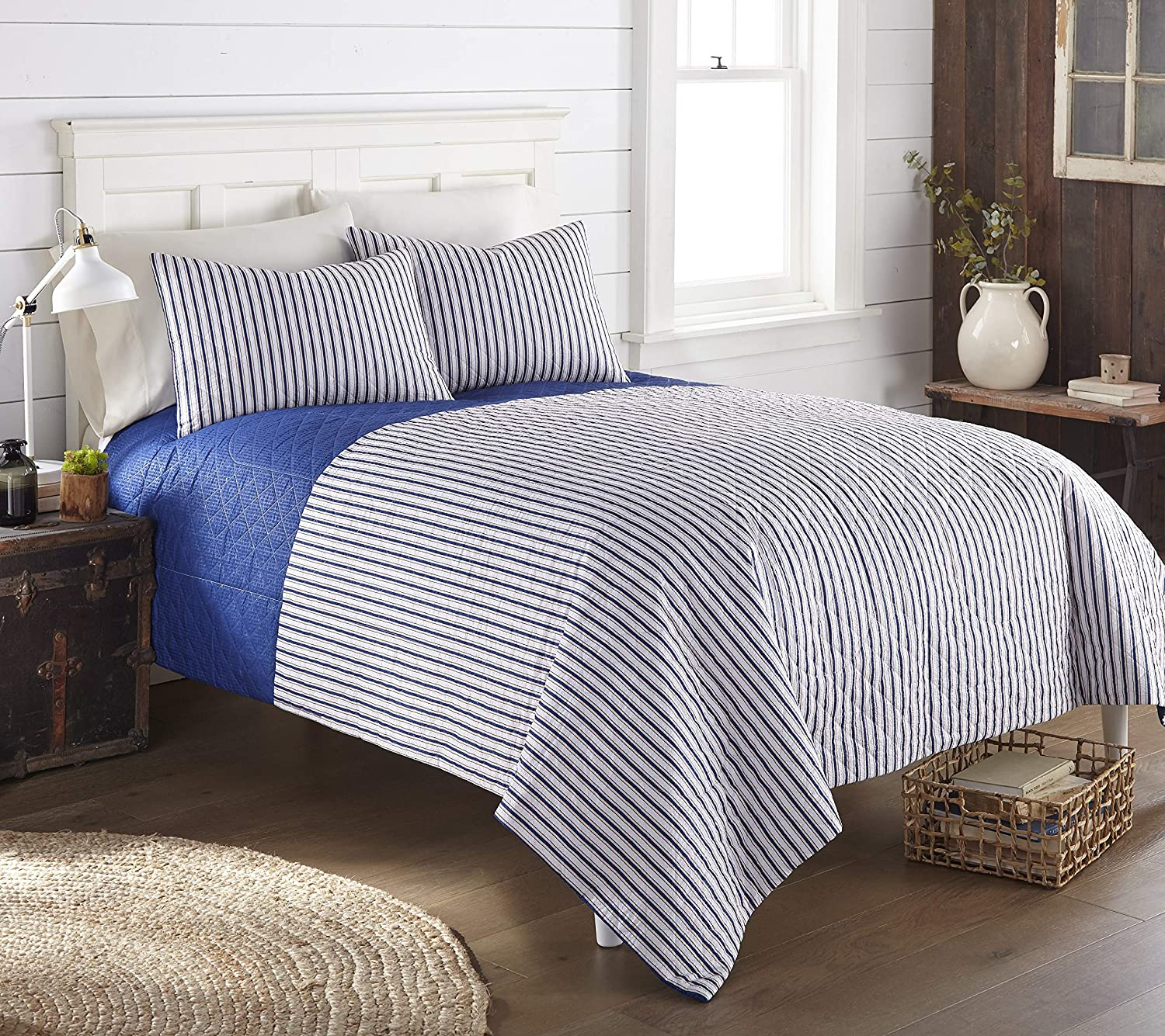 Shavel Home OFFicial Products Seersucker Raleigh Mall 6-in-1 Set Quilt Twin American