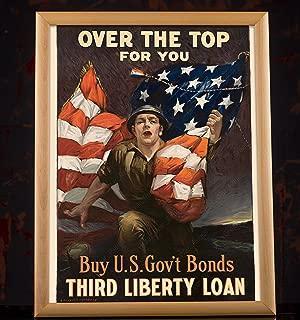 UpCrafts Studio Design Army Gifts for Men - World War 1 American Patriotic Poster (8.3x11.7, Brown Wood Framed Print)