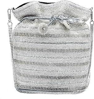 WOMEN'S DESIGNER ELEGANT ROYAL HANDMADE POTLI BAG/HANDBAG/PURSE/CLUTCH BAG ADORA ACI 088 SILVER