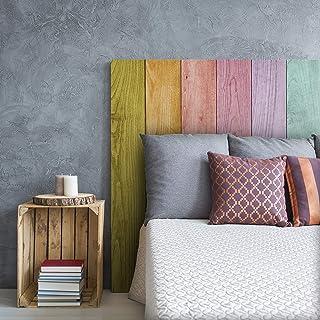 MEGADECOR DECORATE YOUR HOME Cabecero Cama PVC Decorativo Económico Madera Tablas Arcoiris Multicolor Varias Medidas (150 cm x 60 cm)