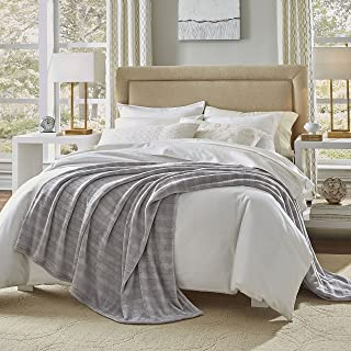 Serta | Damask Stripe Blanket Silky 320 GSM, Machine Washable, 108
