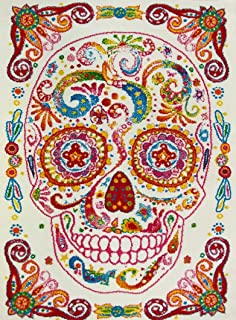 "KC Cubs Boy and Girl Bedroom Modern Decor Area Rug and Carpet Collection for Kids and Children Rainbow Happy Sugar Skull (3' 11"" x 5' 3"")"