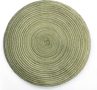 xuhan (2pack Home Mat Filigree Table Ramie Insulation Pad Round Placemats Linen Table Mats Home Pad Coaster 13 ¾ Inches (Green)