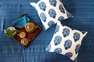 EARTHY INDIA Cotton 200TC Cushion Cover, 16 x 16 Inch, Off White with Blue , Set of 2