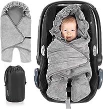 Zamboo Manta envolvente bebé con pies, capucha y bolsa - Primavera - Otoño/Arrullo para sillas Grupo 0+(se adapta a Maxi-Cosi/Cybex/Römer) y cochecitos - Gris
