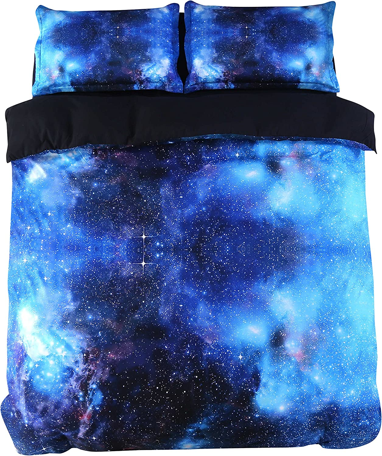 Alicemall Galaxy Bedding Full 4 Pieces Deep bluee Galaxy Duvet Cover Set Gorgeous Shining bluee Galaxy Outer Space Print 4-Piece Bedding Set (Full, bluee-4 pcs)