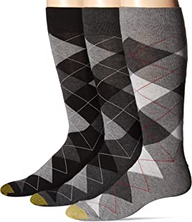 Gold Toe mens Carlyle Argyle Crew Socks, 3 Pairs Dress Sock (pack of 3)