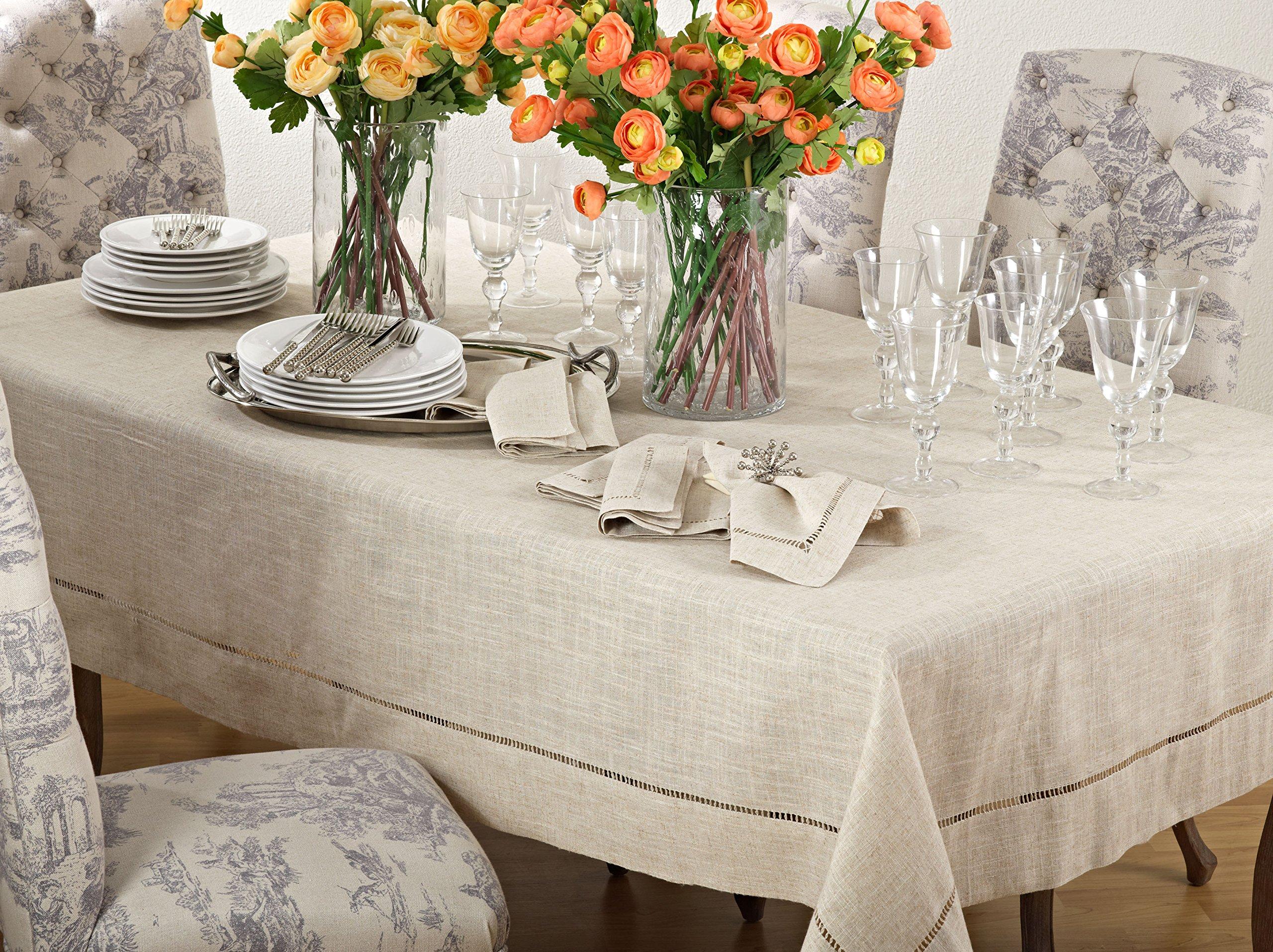 Central Ceiling 80//80 cm Table Linen Set 2 Pieces Linen Look Tablecloth 130//160