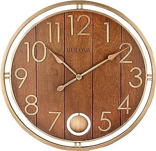 Relógio de parede Bulova Panel Time Oversize, 76 cm, cereja quente e bronze macio