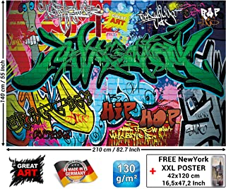 Children's Room Mural – Graffiti Wall Decoration – Colorful Signs Writing Pop Art Street Style Writing Hip Hop Wallpaper Street Art Wall Decor Wallpaper (82.7 x 55 Inch / 210 x 140 cm)