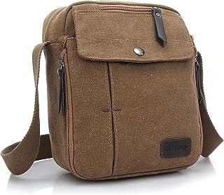 JULED Mens Small Vintage Shoulder Bag Canvas Sports Zipped Messenger Bag Durable Multi-Pocket Sling Satchel Bag