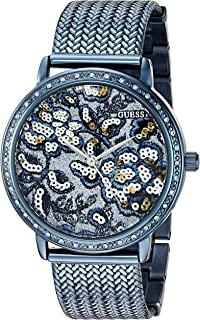 GUESS Women's U0822L3 Trendy Blue Watch with Blue Dial , Crystal-Accented Bezel and Mesh G-Link Band