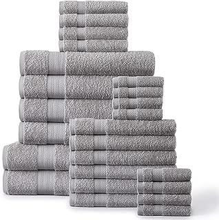 Soft and Absorbent 100 Cotton Eco Friendly Bath Towels Set, 24 Piece Towel Set Includes 2 Bath Sheets, 4 Bath Towels, 6 Hand Towels, 4 Fingertip Towels, 8 Washcloths, Platinum