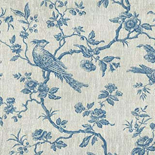 Textiles français Tissu Lin imprimé | 'Les Oiseaux imposants' Tissu Oiseaux - Bleu Denim sur Fond Lin Naturel | Largeur: 1...