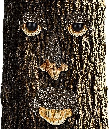 Relaxdays Visage, Décoration pour Arbre, 4 pièces, Motif Esprit de la forêt, déco Jardin, à Suspendre, Brun/Beige, Ma...